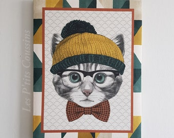 Painting with patterns of a gray cat with glasses and cap