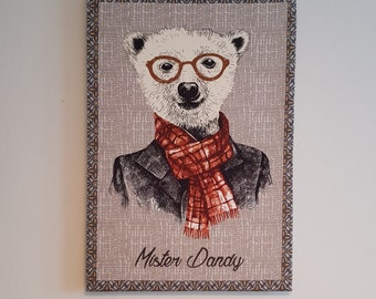 Decorative frame made of fabric of a dandy bear
