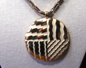 Lanvin of Paris Circle Modernistic Cream and Gold Pendant Necklace
