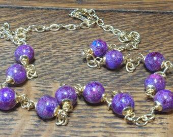 "26"" Italian Sterling Purple Stone Bead Necklace"