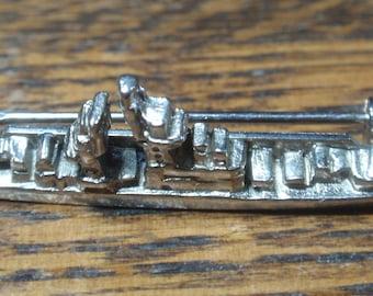 Miniature Silver Tone Battleship Brooch