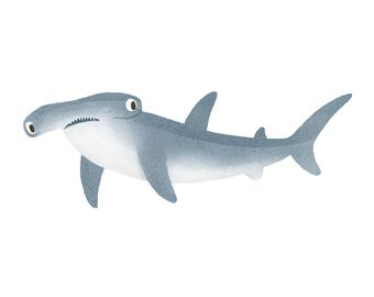 Art Print Illustration - Hammerhead Shark