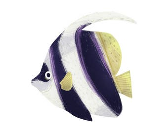 Pennant Butterflyfish - Fish Art Print Illustration