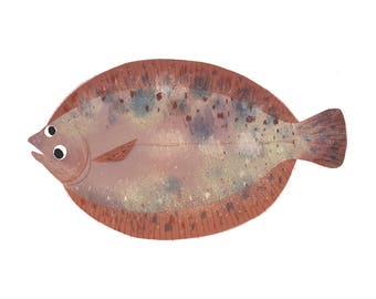 Art Print Illustration - Googly-Eyed Flounder Fish