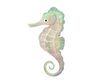 Art Print Illustration - Rainbow Pastel Seahorse