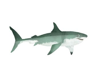 Art Print Illustration - Great White Shark
