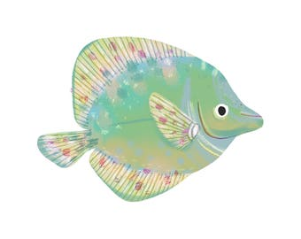 Art Print Illustration - Cucumber Green Surgeonfish