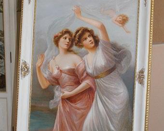 VICTORIAN-STYLE-Oil-Painting-Two-Ladies-Angel-in fait sur commande de style Baroque cadre - après-Edouard-Bisson
