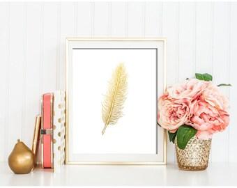 Gold feather print  Feather Prints Boho Prints Gold feather art Feather Artwork Mustard Yellow Feather Feather wall art Feather Printables