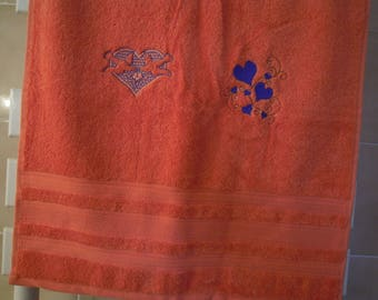 salmon for Valentine's day hand towel