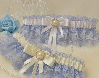 7816e0d1baca8a Bridal Garter. Blue lace with White or Ivory satin trim. Bows with Diamante    pearl detail.