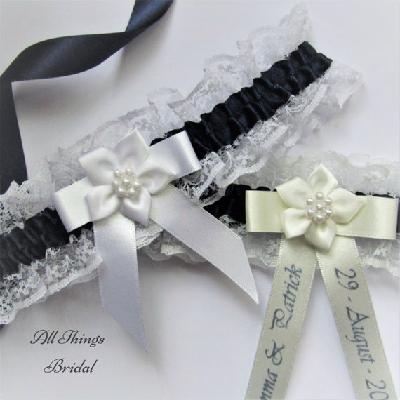 PERSONALISED IVORY BRIDE TO BE WHITE LACE /& SATIN WITH PINK TRIM HEN GARTER