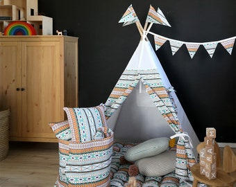 FREE SHIPPING Aztec teepee Nursery tepee tent Playhouse Brown and green teepee tent  Classical indoor Baby gift Christmas gift for kids