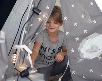 White and Grey Stars teepee with poles Playhouse Play tent Tepee Teepee tent for kids Indoor wigwam Tipi FREE SHIPPING