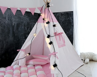Pink teepee with poles Pink and white PlayHouse for kids Play tent Tepee tent for kids Indoor wigwam Pink tipi FREE SHIPPING