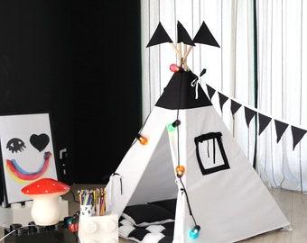 Black and White Teepee, Tipi, Play Tent, Play House, Nursery, Teepee Tent, Kids Teepee, Wigwam, Indoor FREE SHIPPING
