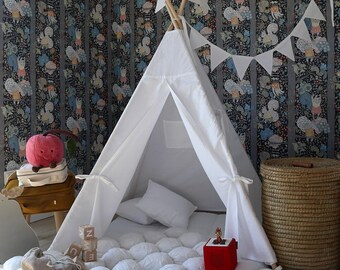White teepee with poles Entirely white tepee tent for kids Nursery Play tent Classical indoor wigwam Tipi playhouse FREE SHIPPING