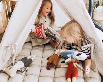 FREE SHIPPING Natural Teepee Tent, Linen, Childrens Teepee, Play Tent, Linen Play Mat, Teepee Tent, Nursery Tent, Kids Furniture, Teepee