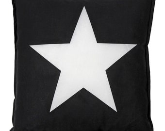 READY TO SHIP! Black and white Star Pillow with Cotton Cover 40x40 cm