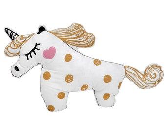 Gold Unicorn pillow, Kids bedroom accessories, Unicorn nursery decorative pillow, Unicorn gifts for girls, Unicorn toy, Unicorn baby shower