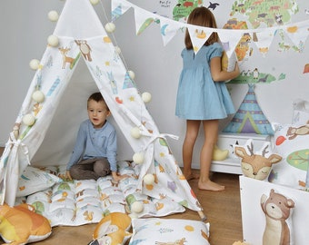 Forest Party teepee Nursery tepee tent Playhouse Animals print Tepee tent Classical indoor Baby gift Christmas gift for kids FREE SHIPPING