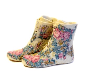 Felted boots - floral pattern on white wool - handmade women's shoes for indoor