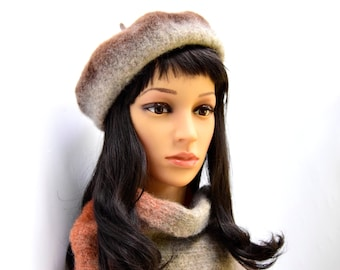 Felted set for women: beret and scarf, handmade, wool 100% / Ready to ship