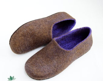 Felted eco slippers, handmade, women's shoes, ready to ship
