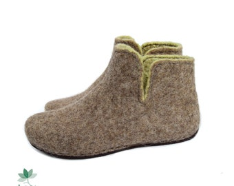 Felted ankle boots,  for women, eco shoes, slippers, wool, brown and green