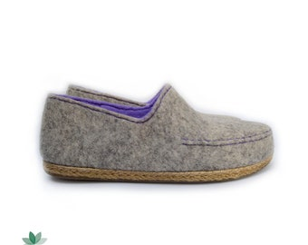Felted wool moccasins, women's eco shoes, felted shoes, handmade slippers, indoors and outdoors, factory soles, different colors