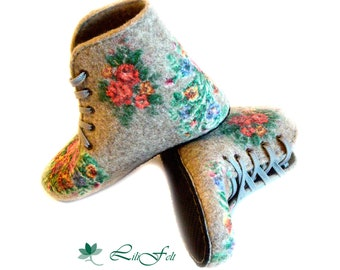 Traditional felted boots for home: custom-made natural wool shoes, assorted colors