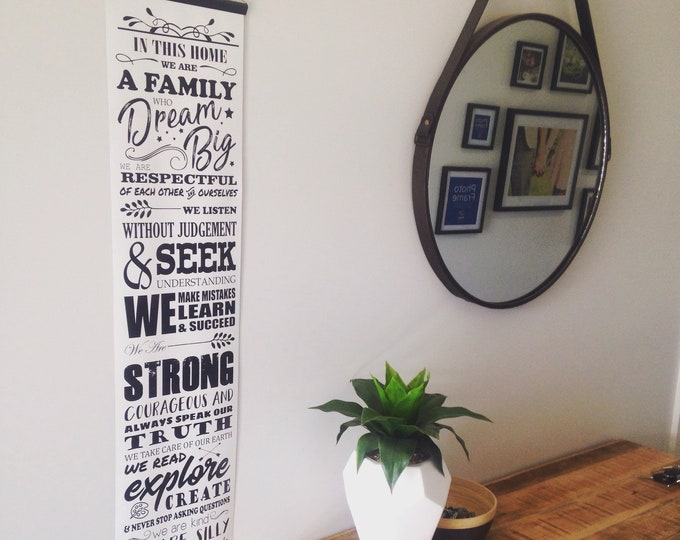 Family Manifesto IN THIS HOME Values wall hanging home decor