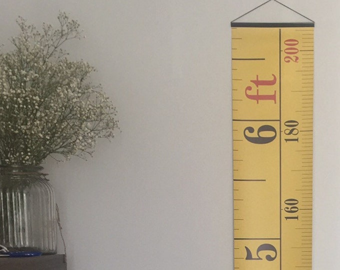 Yellow Tape Measure Hanging Height Chart, Imperial & Metric Height Chart, Ruler, Ruler Growth Chart, Feet and Metres HIGH QUALITY BANNER