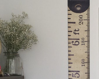 Vintage Inspired Tape Measure Hanging Height Chart, Ruler Growth Chart, Imperial & Metric Height Chart, Feet and Metres HIGH QUALITY BANNER