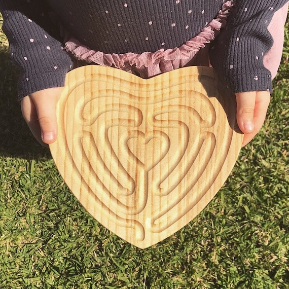 Small Heart Shaped Finger Labyrinth, Calming Device, Meditation Tool, Fidget Toy, Classroom Tool