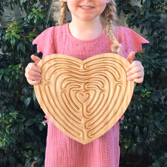 Large Heart Shaped Finger Labyrinth, Calming Device, Meditation Tool, Fidget Toy, Classroom Tool
