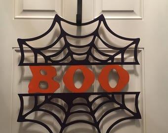 Halloween spider web boo door decor