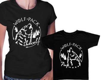 061965ee09a04a Wolf pack Shewolf and Pup Matching T shirts Mom and kid