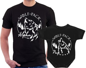 4e0f5e49a02497 Wolf pack Alpha and Pup Dad and Baby matching t shirts