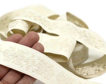 20271 inch 20mm Beige Victorian Jade Jacquard Ribbon 0.78   Embroidered Bordure Fabric Tapestry for Embellishment Craft Home Decor
