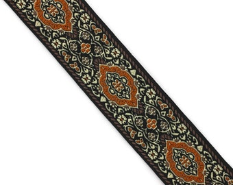 Scroll patterned border Scroll Jacquard trim 1.25 scroll trim by the yard pink and black  Sewing trim 35 mm