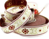 22 mm metallic Red jacquard ribbons (0.86 inches, native american embroidered trim, sewing trim, woven jacquards, woven border, 22806