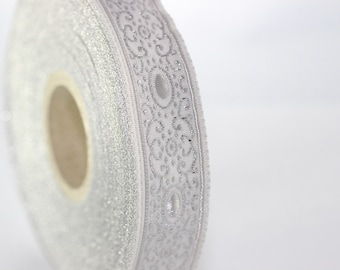 22 mm Grey/white authentic Jacquard ribbon (0.86 inches), woven ribbon, authentic ribbon, Sewing, Scroll Jacquard trim, 22805