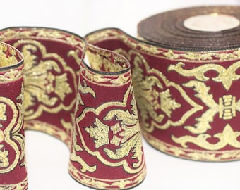 70 mm Red Chinese  Jacquard trim (2.75 inches) - Vintage Ribbon -  Decorative Craft Ribbon - Sewing - Jacquard ribbon - Trim