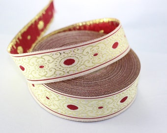 22 mm Red/white authentic Jacquard ribbon (0.86 inches), woven ribbon, authentic ribbon, Sewing, Scroll Jacquard trim, 22805