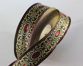 22 mm Red/black authentic Jacquard ribbon (0.86 inches), woven ribbon, authentic ribbon, Sewing, Scroll Jacquard trim, 22805