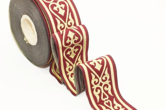 10 Yards 1.37 inch Royal Celtic Heart Jacquard Ribbon Jacquard Trim Ribbon Trim Sewing Trims Heart Embroidered Ribbons