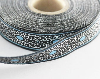 22 mm blue authentic Jacquard ribbon (0.86 inches), woven ribbon, authentic ribbon, Sewing, Scroll Jacquard trim, 22805