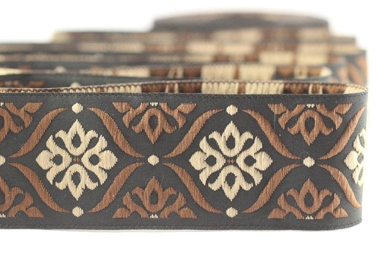 jacquard trim fabric wide trims Jacquard ribbon 0.98 inches 25 mm Brown Mediterranean Ribbon 25973 craft supplies vintage trim