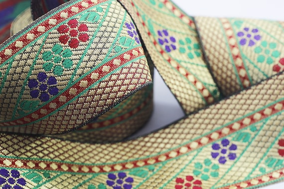 Jacquard Trim 2.36in Wide Woven Border Sew Embroidered Ribbon Lace